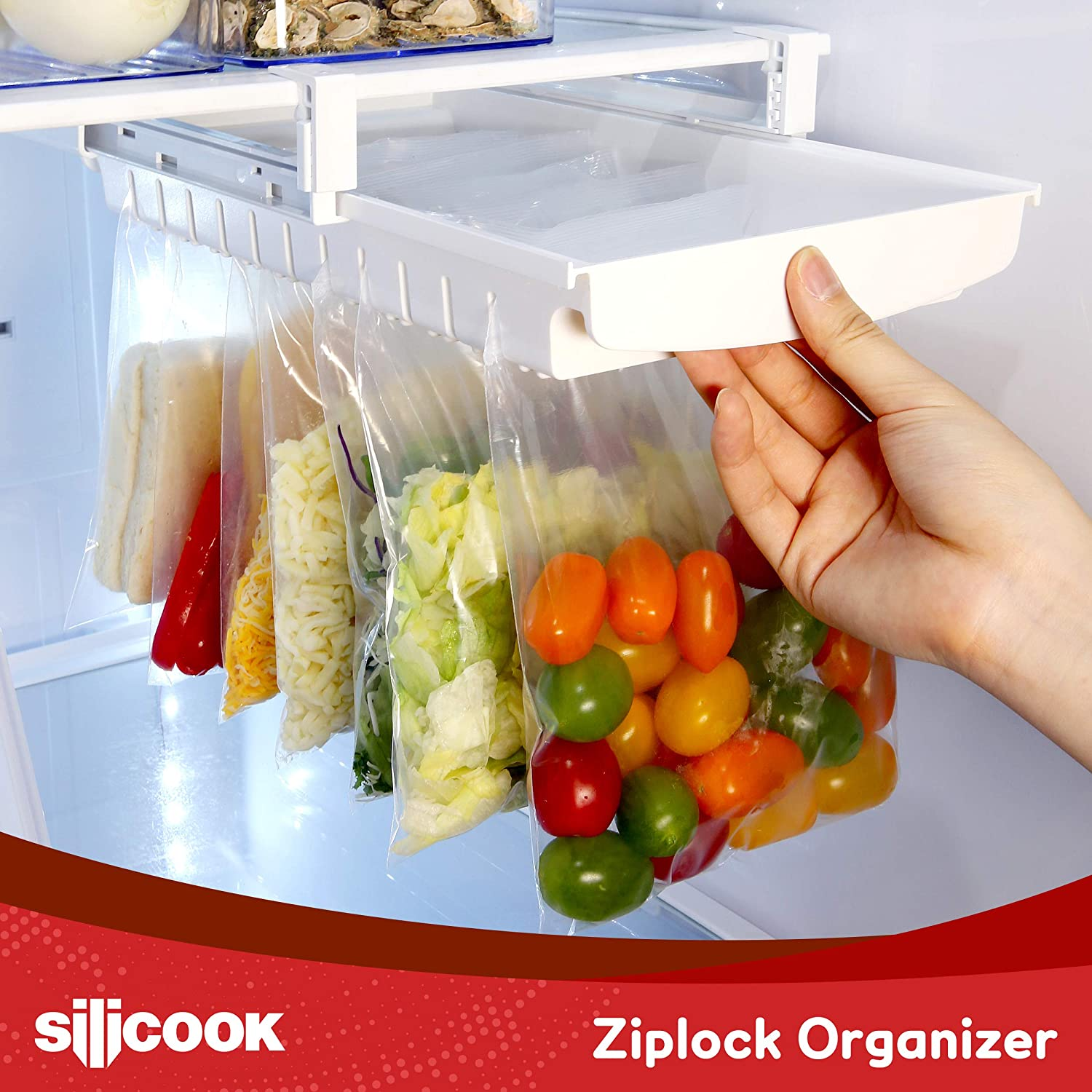 Ziplock Bag Organizer for Fridge Freezer Refrigerator Set of 25 Ziploc Bags and Vacuum Compressor - Best Solution to Clean and Organize Zipper Bag Tray Ziplock Holder Rack Hanger