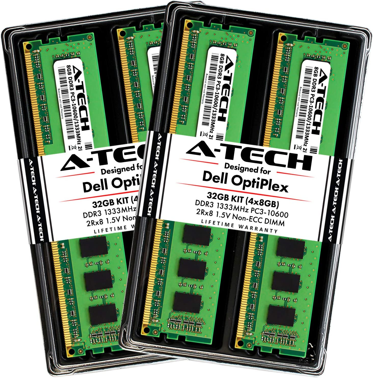 A-Tech 32GB Max RAM Kit for Dell OptiPlex 9010, 7010, 990, 790, MT/DT/SFF - (4 x 8GB) DDR3 1333MHz PC3-10600 Non-ECC DIMM Memory Upgrade