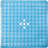 "Shower Mat Non Slip | Non-Toxic (BPA-Free) & Anti-Bacterial | Bath Tub Mat with Original GripTight (TM) Technology & Powerful Suction Cups | 21"" x 21"", Clear Blue"