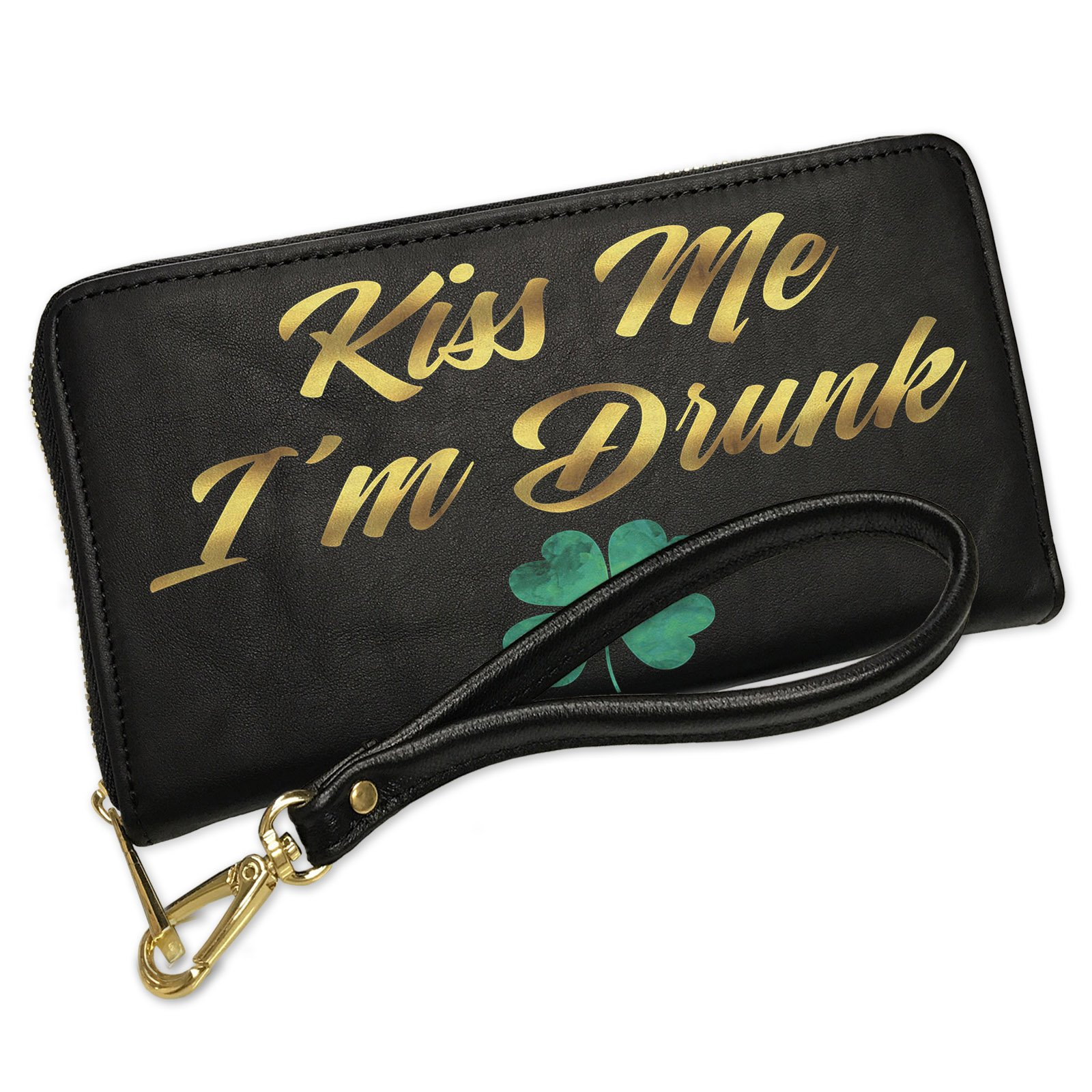 Wallet Clutch Kiss Me I'm Drunk St. Patrick's Day Watercolor Shamrock with Removable Wristlet Strap Neonblond