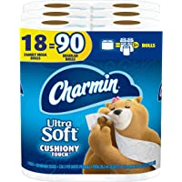 Charmin Ultra Soft Cushiony Touch Toilet Paper, 18 Family Mega Rolls (Equal to 90 Regular Rolls)