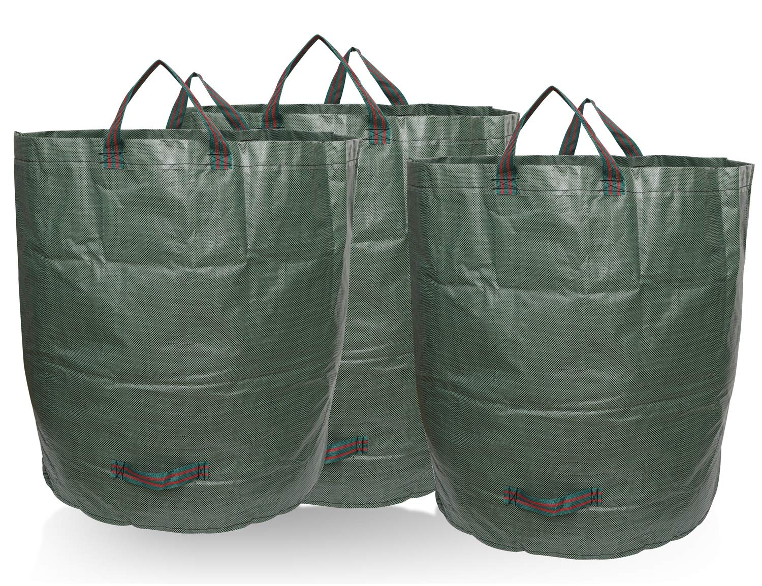 BNSPLY 3-Pack 72 Gallons Garden Waste Bags - Large Reusable Gardening Bagster with 4 Handles - Collapsible Lawn and Yard Waste Containers by BNSPLY