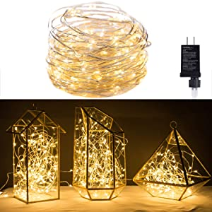 MineTom 120 LED Fairy Lights 40FT Starry String Lights Waterproof Silver Copper Wire - UL Adaptor Included, Firefly Lights for Indoor Outdoor Christmas Decorative Patio Wedding