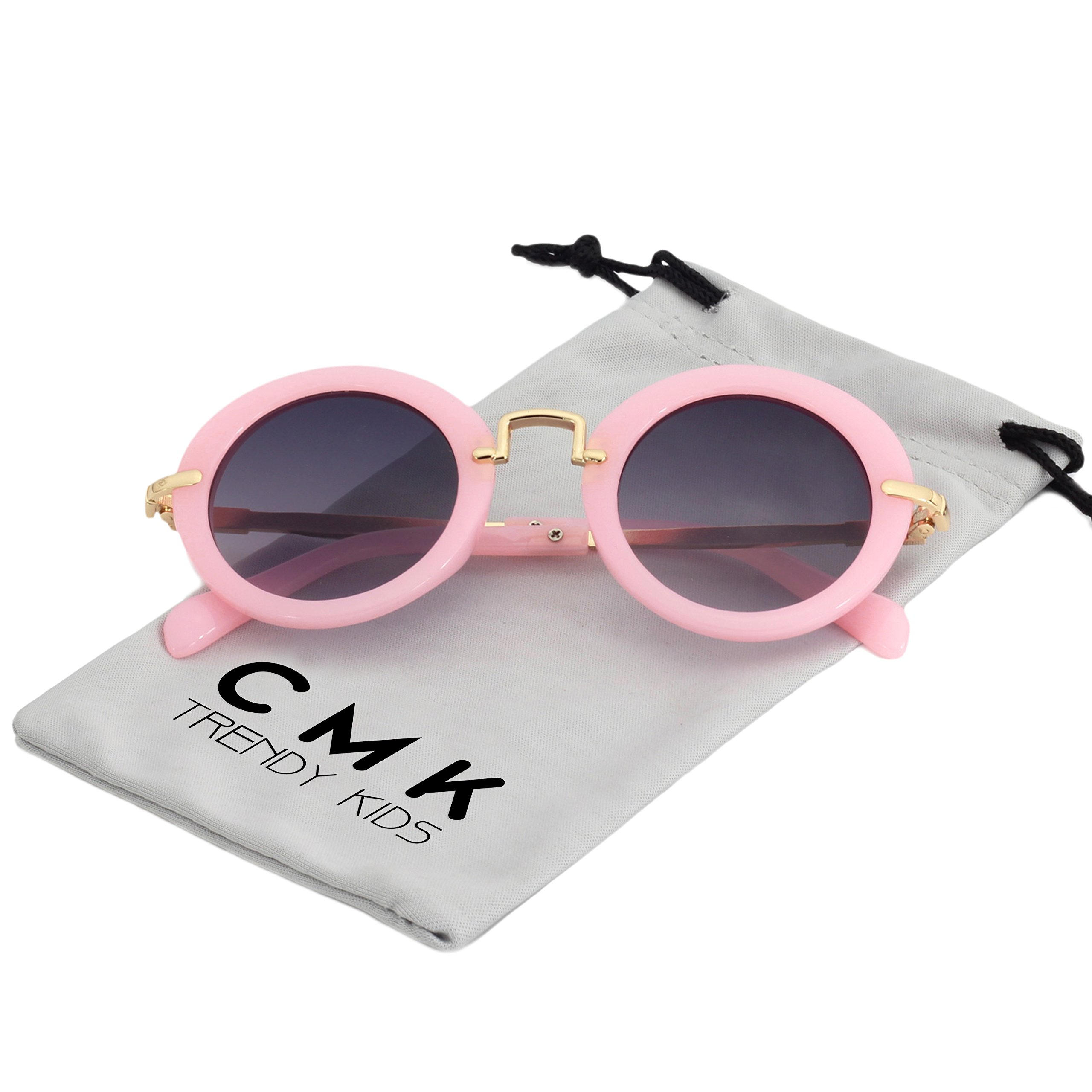 CMK Trendy Kids Classic Toddler Round Sunglasses for Little Girls and Boys Metal Legs (CMK180201_PK)