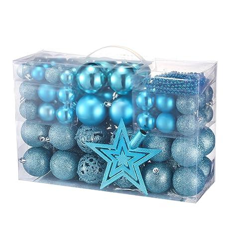 Christbaumkugeln Amazon.Yorbay Weihnachtskugeln Christbaumkugeln Set Inklusive Perlenkette Und Baumspitze Eisblau