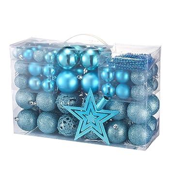 Christbaumkugeln Blau.Yorbay Weihnachtskugeln Christbaumkugeln Set Inklusive 5m Perlenkette Und Baumspitze Blau