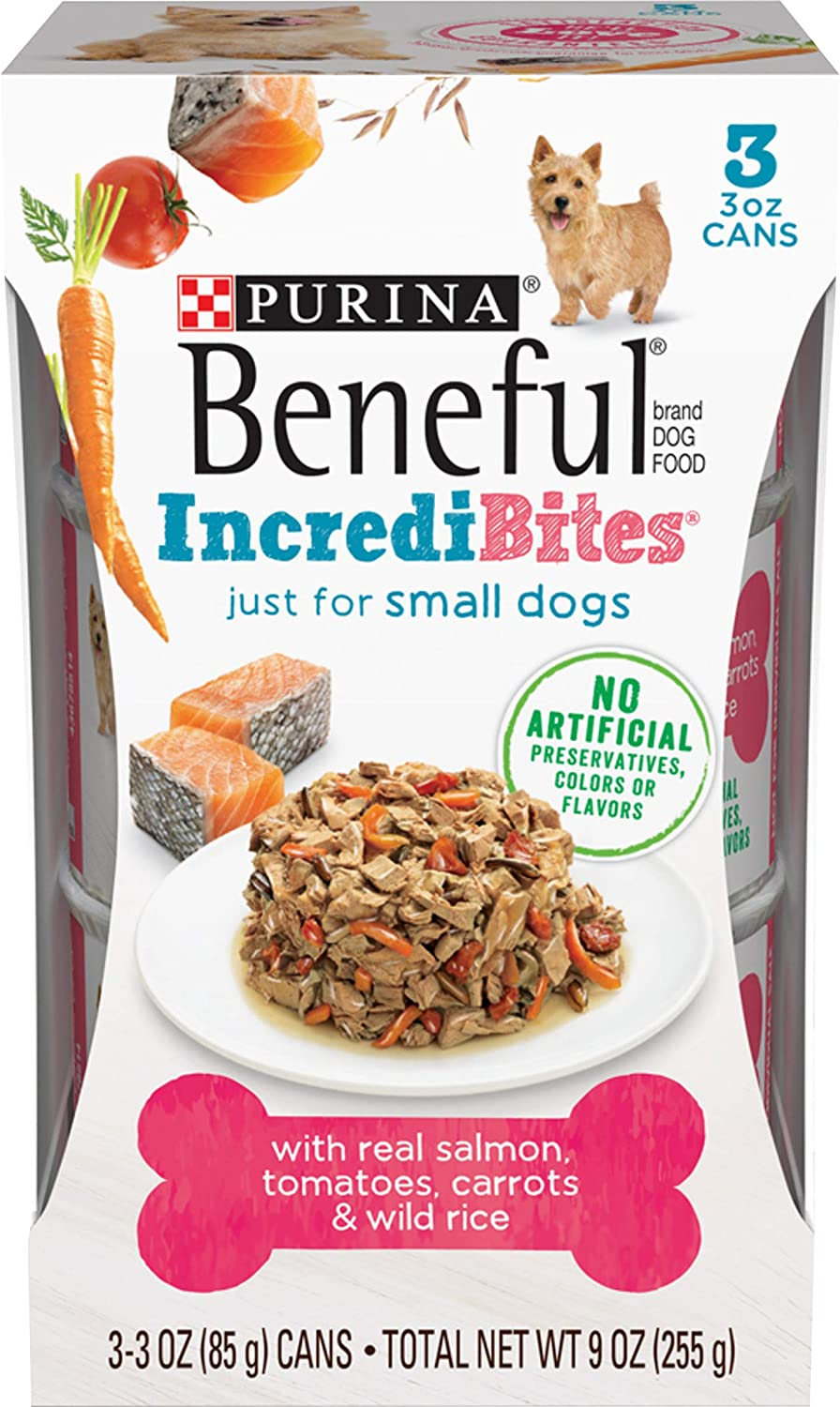 Purina Beneful Small Breed Wet Dog Food, IncrediBites With Salmon - (8 Packs of 3) 3 oz. Cans
