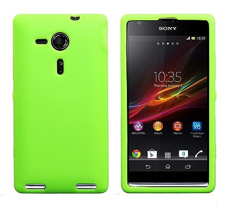 Luxburg® In-Colour Design funda protectora para Sony XPERIA SP en color claro verde/verde, funda carcasa de silicona