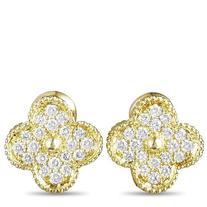 e654f46318d7 Amazon.com  Van Cleef   Arpels (Est.) Van Cleef   Arpels Magic Alhambra 18K  Yellow Gold Diamond Clip-On Earrings  Jewelry