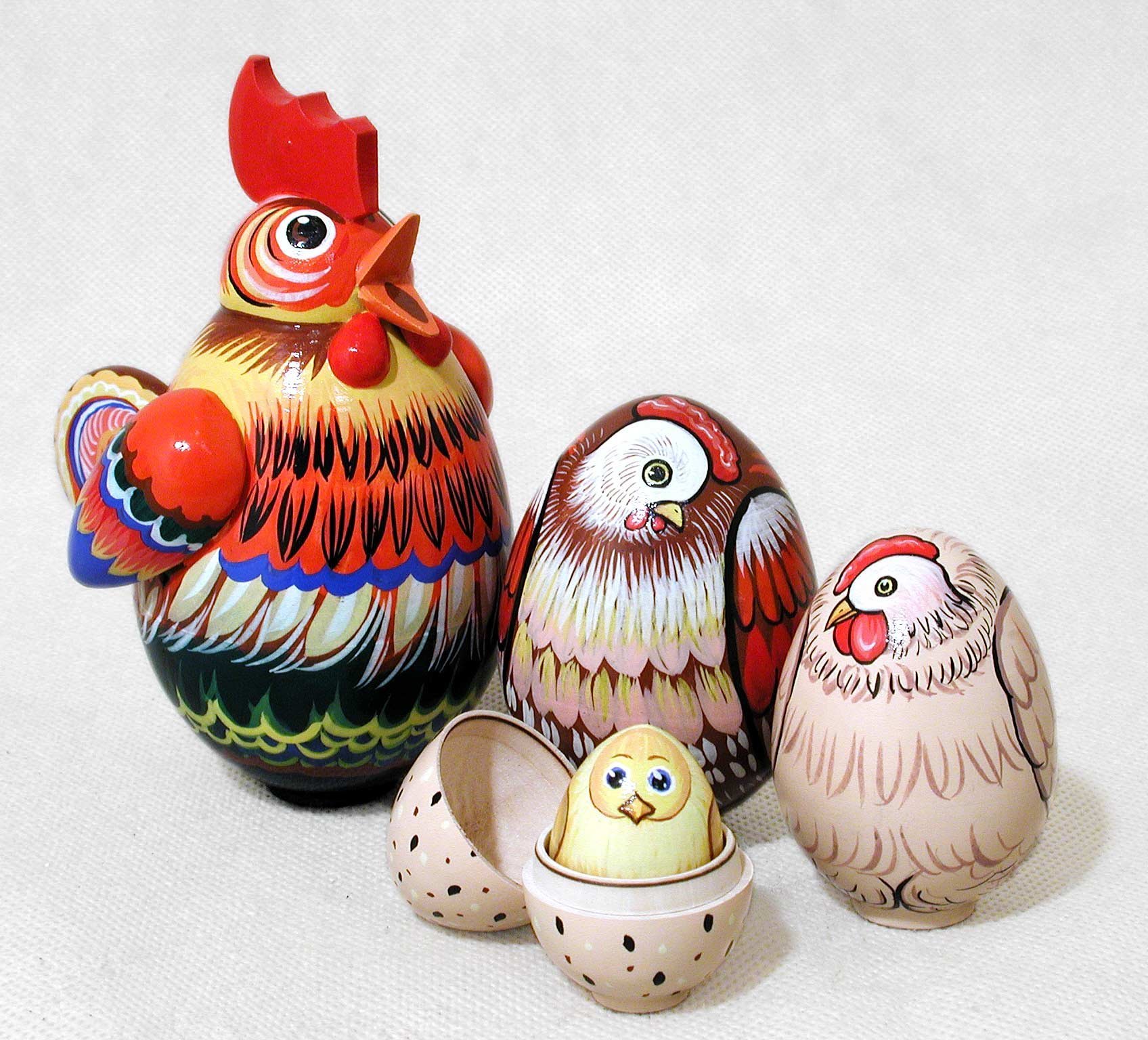 Rooster 5 Piece Russian Wood Nesting Doll Matryoshka Stacking Dolls Russia Bird