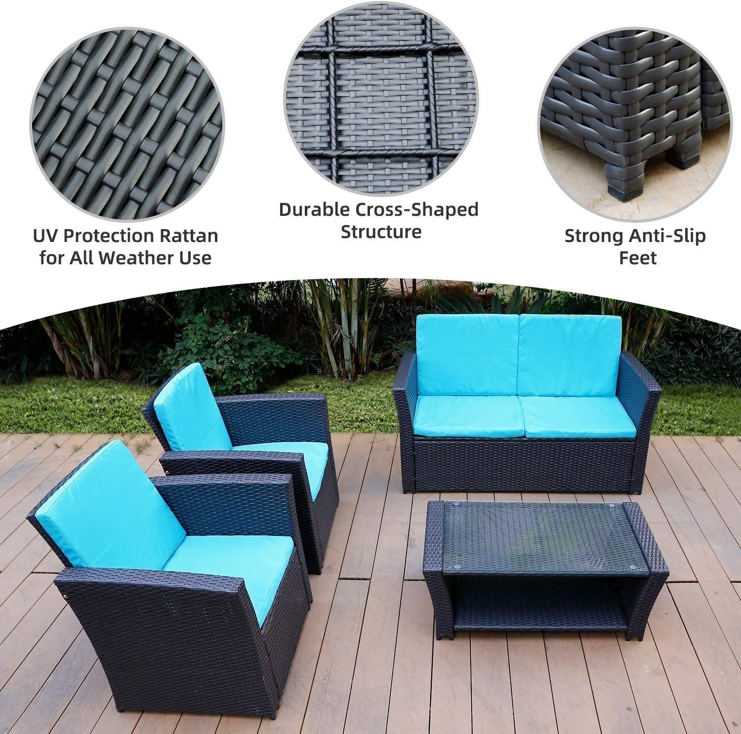 Washable Couch Cushions Blue All-Weather Rattan Sectional Sofa with Table TUSY 5pcs Patio Outdoor Furniture Sets High Back Black Rattan