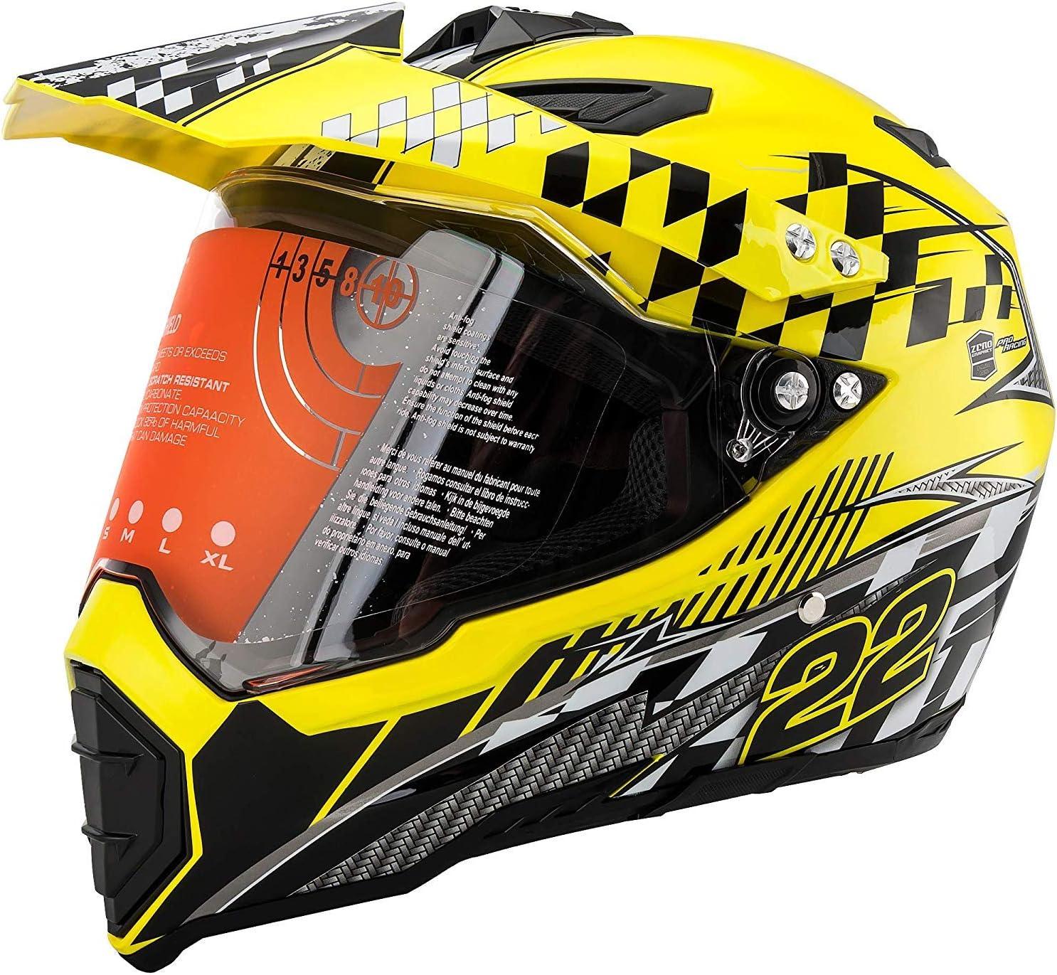 ZJRA Adult Rockstar Motocross Helmet,MX Motorcycle Helmet Dirt Bike ATV Scooter DOT Certified Motorbike Helmet with Goggles Gloves Mask,L58~59cm