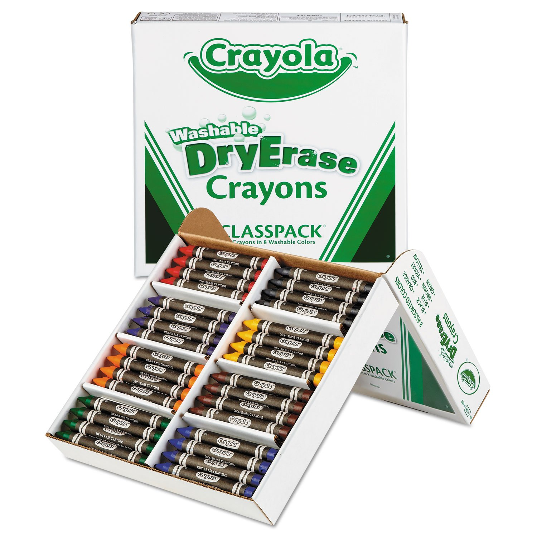 Crayola 985208 Dry-Erase Crayons Classpack, Washable, 96 Ct, Ast