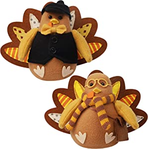 FORUP Standing Turkey Couple Thanksgiving Decoration for Autumn Fall Thanksgiving Harvest Halloween Home Decorations