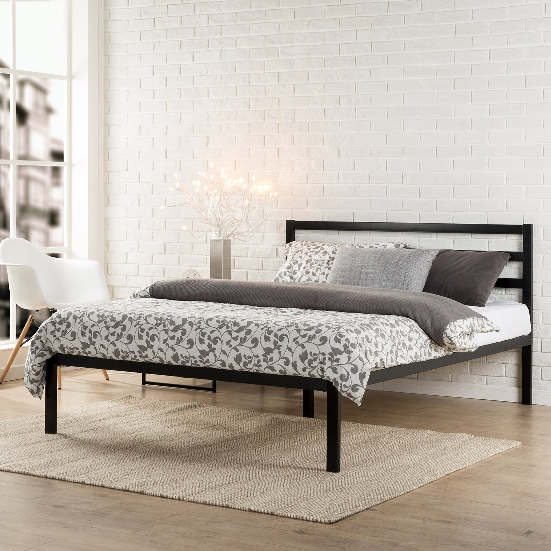 Bed frames headboards - Zinus Modern Studio 14 Inch Platform 1500h Metal Bed Frame Mattress Foundation Wooden Slat Support With Headboard Queen