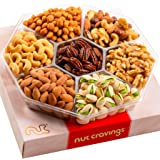 Gourmet Nut Gift Basket, Red Box (7 Mix Tray) - Easter Food Arrangement Platter, Care Package Variety, Prime Birthday Assortm