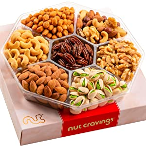 Valentines Day Gourmet Nut Gift Basket, Red Box (7 Mix Tray) - Food Arrangement Platter, Care Package Variety, Prime Birthday Assortment, Healthy Kosher Snack Tray for Families, Women, Men, Adults