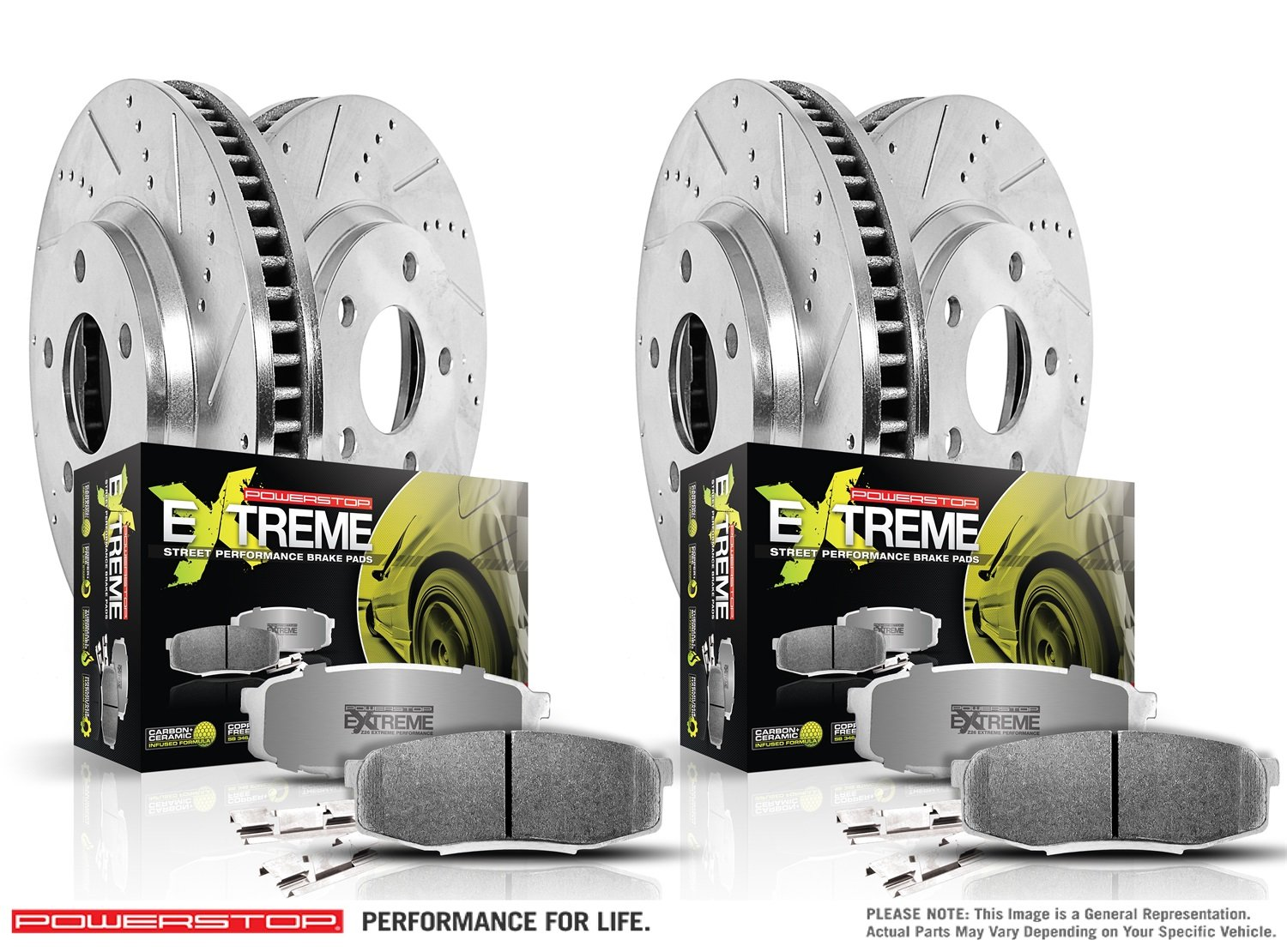 Z26 Street Warrior Front /& Rear Kit Rotors and Carbon-Fiber Ceramic Brake Pads Power Stop K15244DK-26