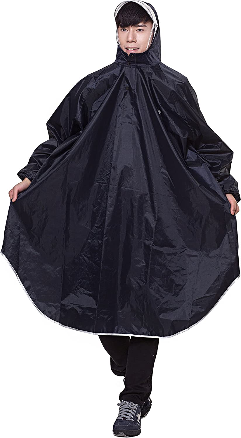 Adult Bicycle Bike Rain Coat Rainwear Extended Hooded Rain Poncho with Snaps