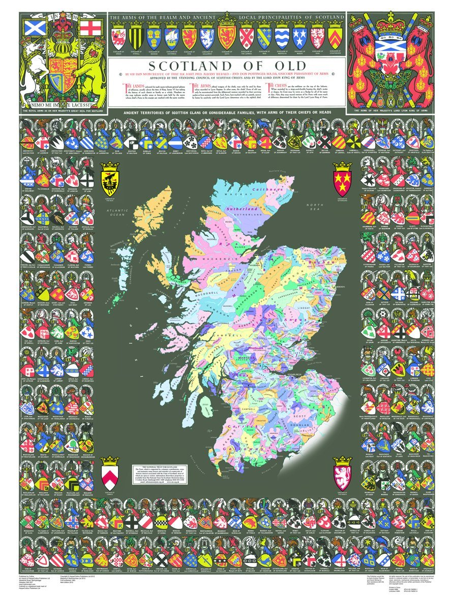 Scotland of Old: Clans Map of Scotland (Collins Pictorial Maps