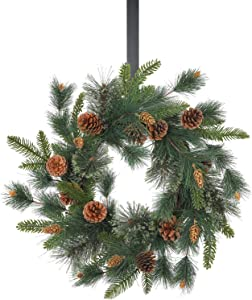 Christmas Door Wreath - 23 Inch Pine & Berry Artificial Green Xmas Wreaths for Holiday Festival Home Farmhouse Wall Decor