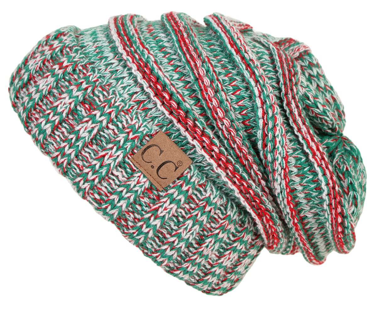 0334c0bf5b7 Galleon - Funky Junque H-6100-6208 Oversized Slouchy Beanie - Christmas Mix