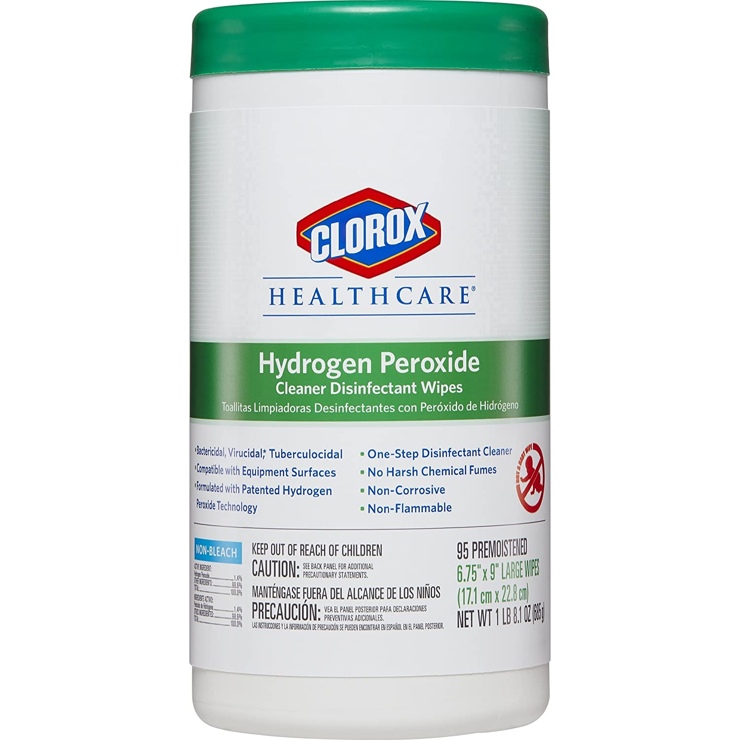 Amazon.com: Clorox Healthcare Hydrogen Peroxide Cleaner Disinfectant Wipes, 95 Count Canister (Pack of 6): Industrial & Scientific