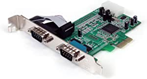 StarTech.com 2 Port Native PCI Express RS232 Serial Adapter Card with 16550 UART PEX2S553 (Green)