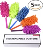 Fran's Essentials Retractable Long-Reach Washable Dusting Brush Kit with Telescoping Pole, (Pack of 5)