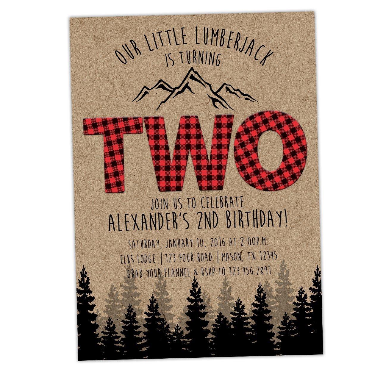 Amazon.com: Buffalo Plaid Lumberjack 2nd Birthday Invitations Boy ...