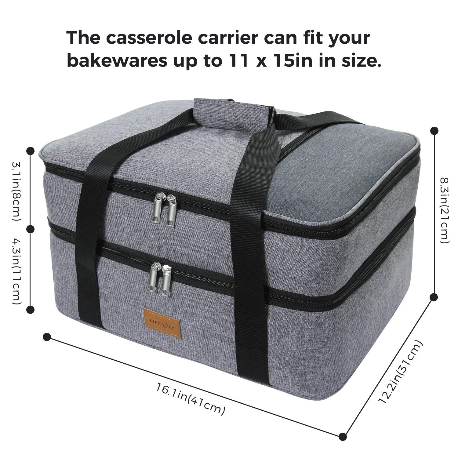 ddd9586925a924 Amazon.com: Lifewit Double Casserole Carrier Lasagna Lugger for Potluck  Parties/Picnic/Beach, Thermal Lunch Bag Tote to Keep Food Hot/Cold, Grey:  Kitchen & ...
