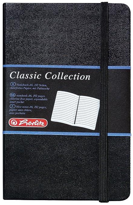 Herlitz 10789444 Geschäftsbuch Lederoptik Schwarz Liniert A6 96 Blatt Inhaltspapier 80g M Notizbuch Classic Collection