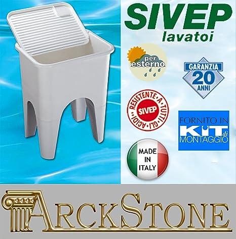 Lavandino Per Esterno In Plastica.Arckstone Arredo Lavatoio Sivep Lip 2000 60x48x77 Cm Lavanderia