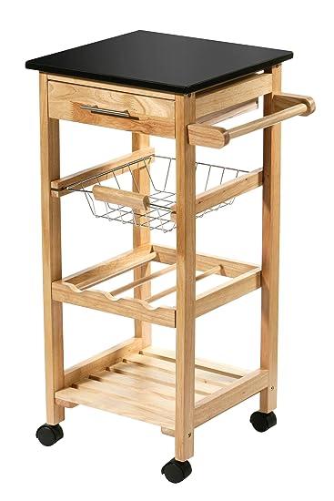 Küchenwagen mit granitplatte  Amazon.de: Premier Housewares Küchenwagen aus Gummibaumholz ...