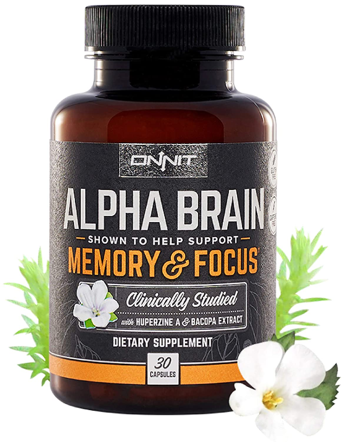 Onnit Alpha Brain (30ct) Nootropic Brain Booster Supplement For Memory,  Focus, and Mental Clarity with