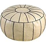Thgonwid Handmade Moroccan Round Pouf Foot Stool Ottoman Seat Faux Leather Large Storage Solution Bean Bag Floor Cushion Cove