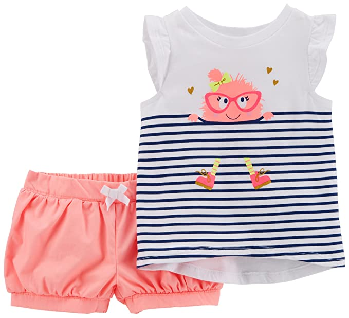 0cd28416555e5 Amazon.com: Carter's Baby Girls' 0M-5T 2 Piece Monster High-Low Top and  Neon Shorts Set: Clothing