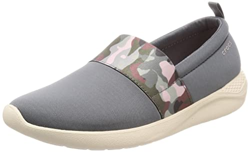 53b8ea65f8f931 Crocs 205374 LITERIDE Graphic Slipon Ladies Trainers Charcoal Stucco UK W5