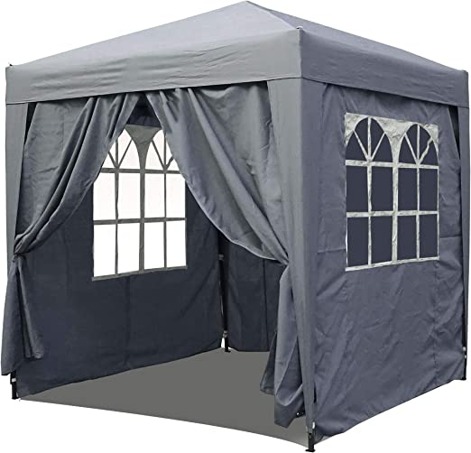 QUICK STAR Jardín Gazebo Plegable Pop-Up 2 x 2 m Gris Ahumado con ...