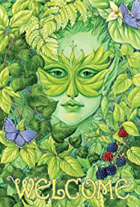 Toland Home Garden Dryad Butterfly Welcome 28 x 40 Inch Decorative Green Fairy Nymph Spring Berries House Flag