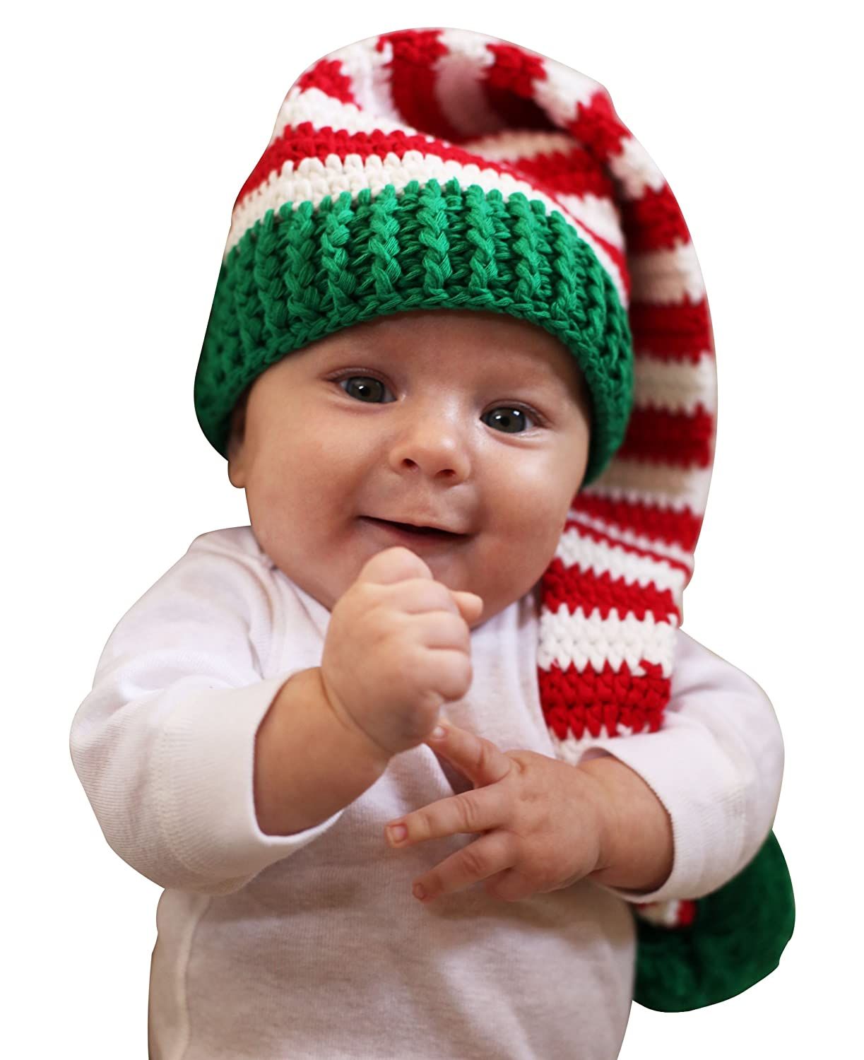 amazoncom melondipity christmas elf crochet baby hat red white green beanie stocking cap infant and toddler hats clothing