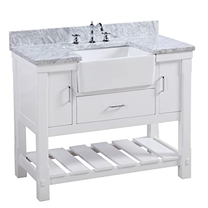 Charlotte 42 Inch Bathroom Vanity (Carrara/White): Includes A Carrara Marble