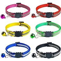 YHmall 6er Reflektierendes Nylon Katzenhalsband, mit Glocke und Schnalle, Verstellbar 20–30 cm, Coole Halsbänder für Hauskatzen, Kleine Hunde