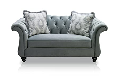 Furniture of America Ivorah Glamorous Love Seat, Dolphin Gray