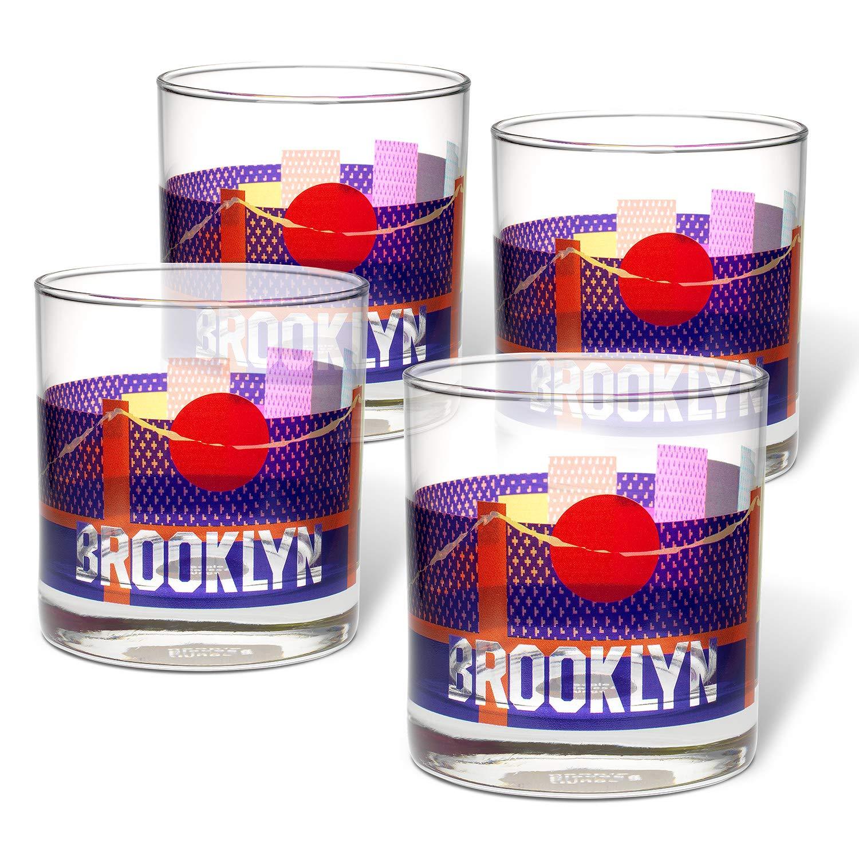 People Set of 4 Multi Places /& Things 3-00427 Brooklyn Rocks Glasses