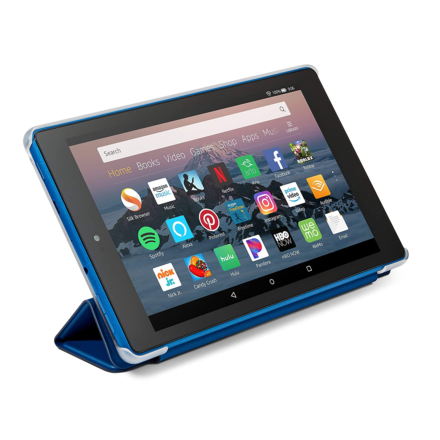 Nupro Tri-fold Standing Case for Fire HD 8 Tablet Blue
