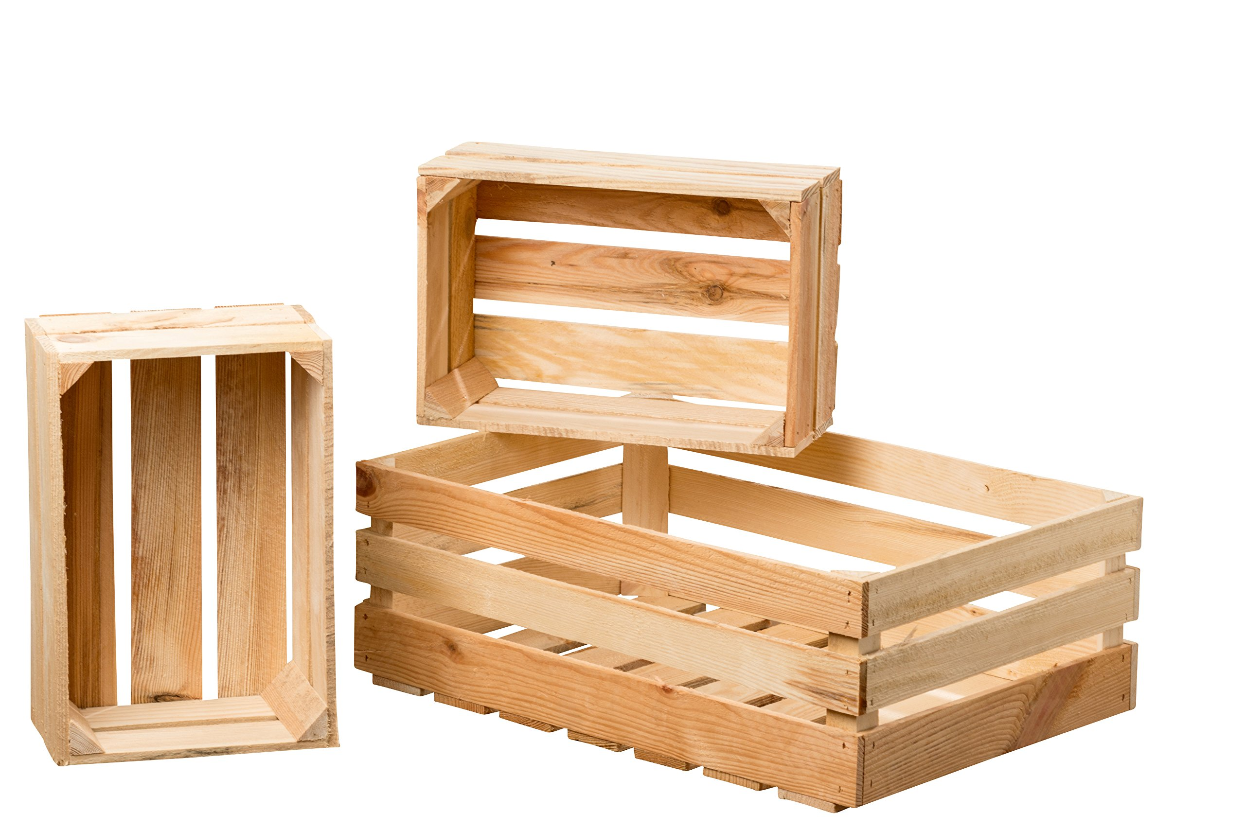 The Farmer's Market Wooden Fruit Crates, Set of 3, Sustainable Fir Wood, Nesting Rectangles, for Display, Storage, and More. 1-23 1/2 x 15 3/4 x 8 3/4 Inches, 2-14 1/2 x 9 3/4 x 6 Inches by WHW