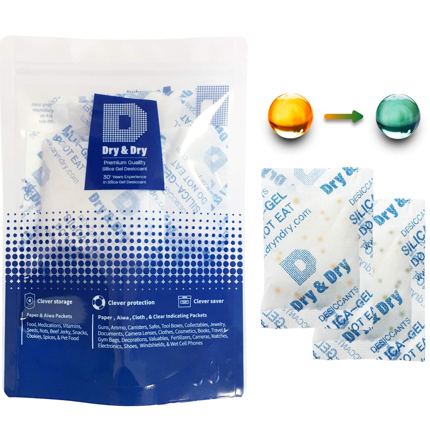 Dry & Dry 20 Gram [60 Packs] Premium Desiccant Food Safe Orange Indicating(Orange to Dark Green) Mixed Silica Gel Packets Dehumidifer - Rechargeable Silica Packets for Moisture Absorbers