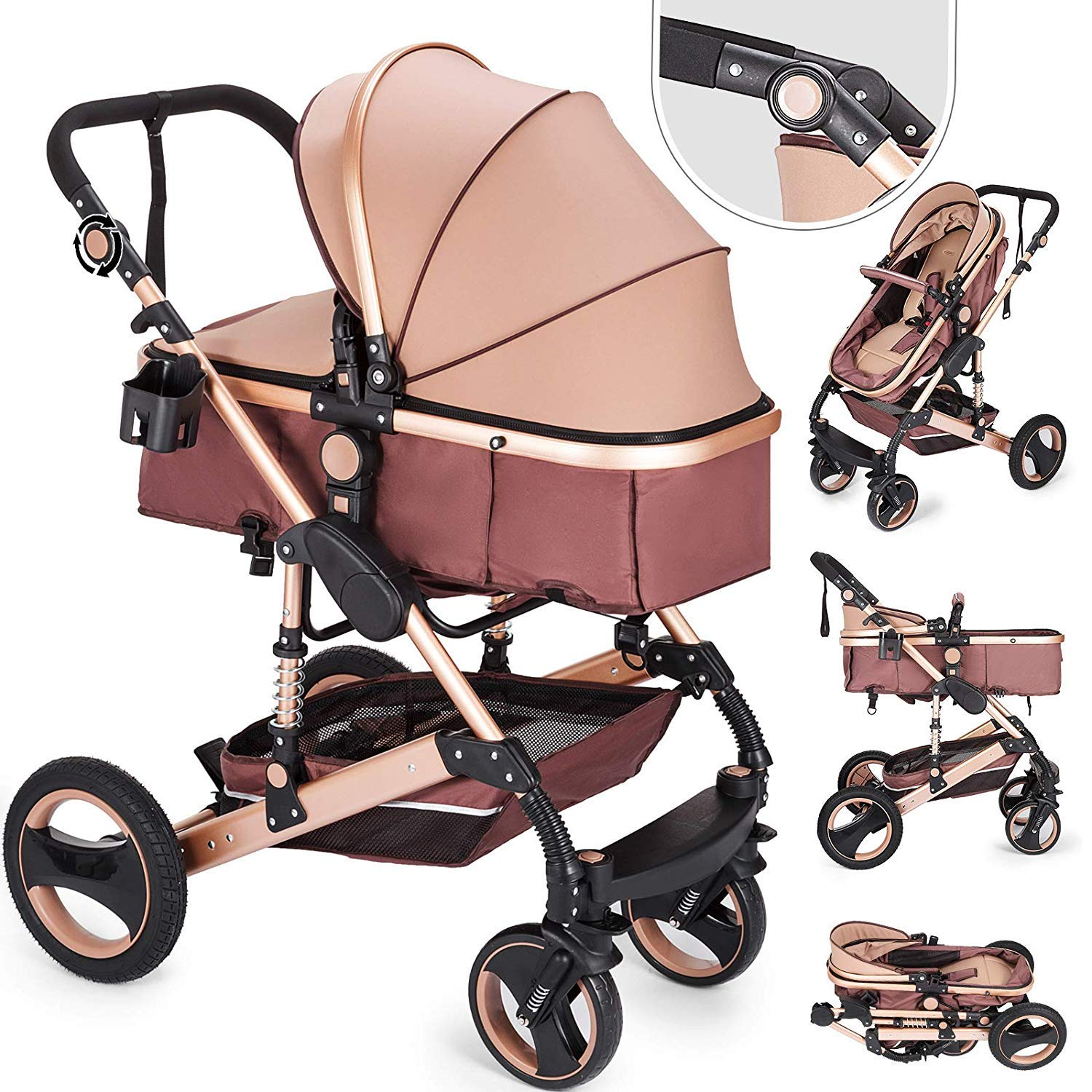 Happybuy 2 in 1 Portable Baby Stroller Anti-Shock Springs Foldable Luxury Baby Stroller Adjustable High View Pram Travel System Infant Carriage Pushchair (2IN1)