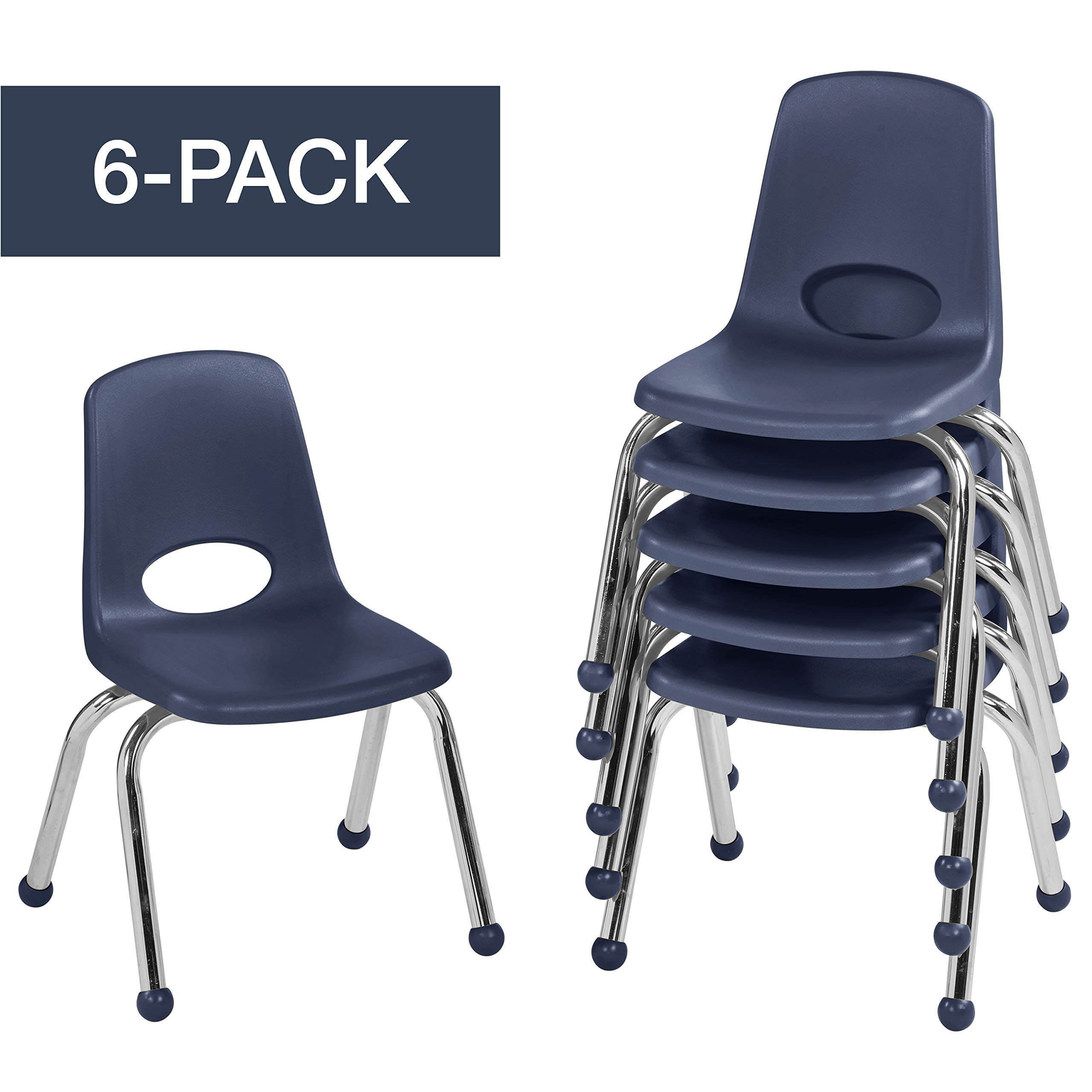 12'' School Stack Chair,Stacking Student Chairs with Chromed Steel Legs and Ball Glides - Navy (6-Pack)